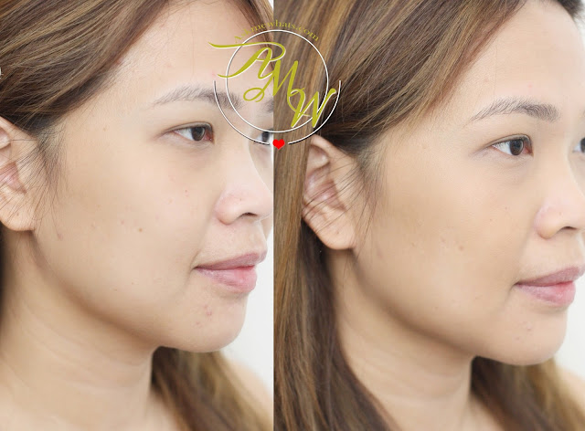 before and after photo of Make Up For Ever Pro Finish Multi Use Powder Foundation Review