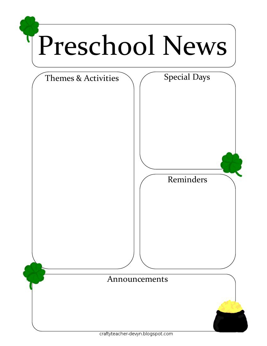 marchnewsletter January Pre Newsletter Template Free on microsoft word, preschool classroom, christmas family,
