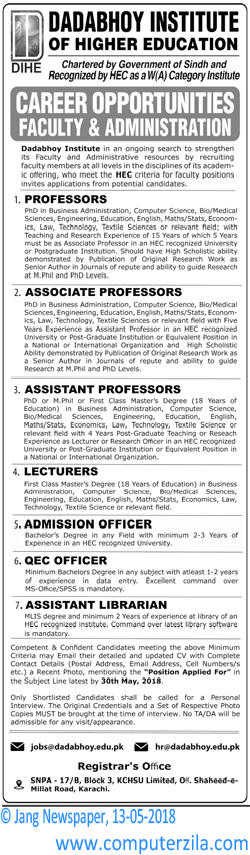 Career Opportunities Faculty & Administration at Dadabhoy Institute of Higher Education