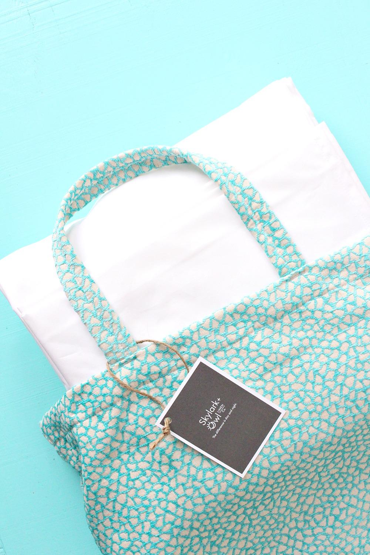 Turquoise Print Tote Bag