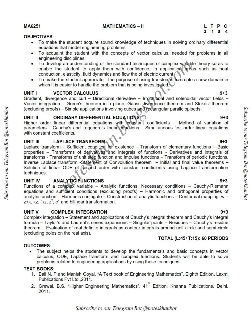 MA6251- Mathematics II-Syllabus-Semester II-ECE-BE-Anna