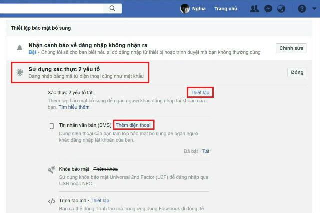 cách bảo mật facebook 2 lớp bằng điện thoại 2