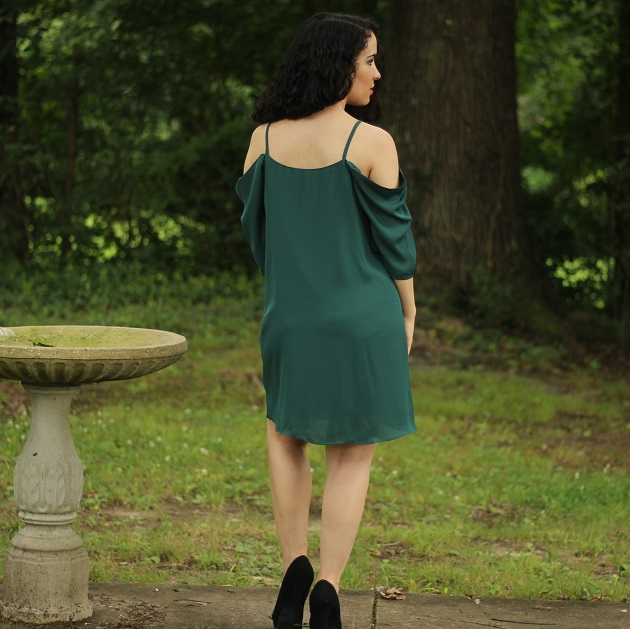 Dark Green Cold Shoulder Dress