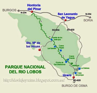 Mapa del Parque Natural del Río Lobos