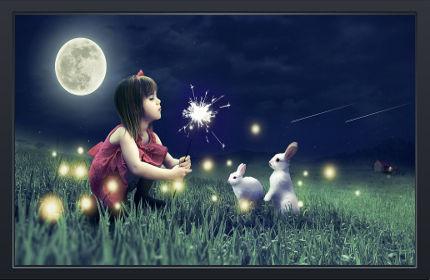 Cute Girl Cute Rabbits - Fond d'Écran Full HD