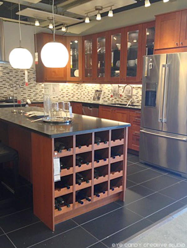 IKEA kitchen ideas, wine storage, lighting, stainless steel fridge, tiles