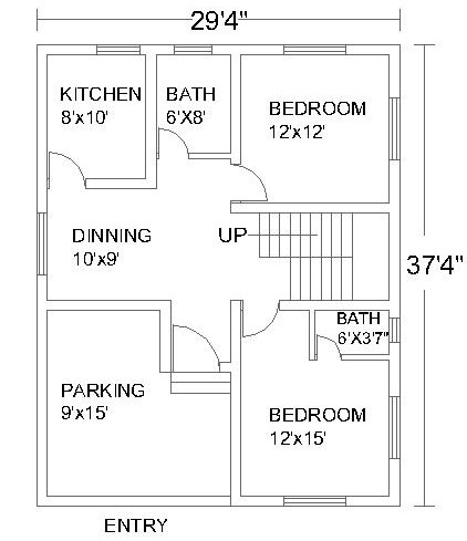 2 Bedroom House Plans #3