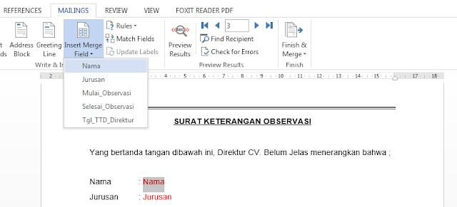 Pilih yang ingin dijadikan mail merge