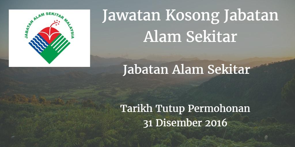 Jawatan Kosong Jabatan Alam Sekitar 31 Disember 2016