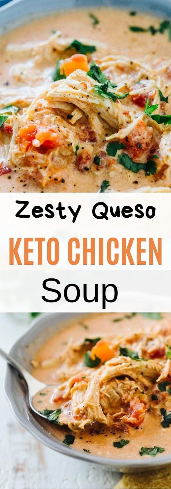 Zesty Queso Keto Chicken Soup #Zesty #Queso #Keto # Chicken #Dinner #Soup #Healthy
