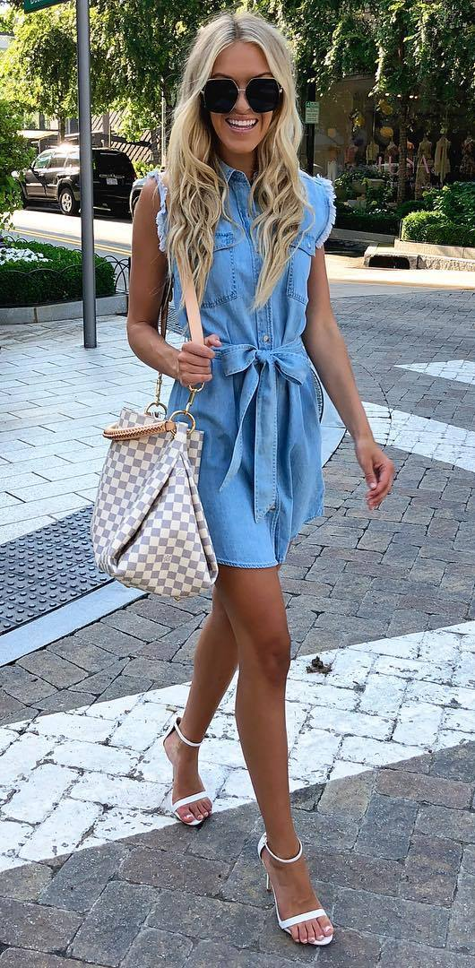 awesome summer outfit / plaid bag + denim dress + heels
