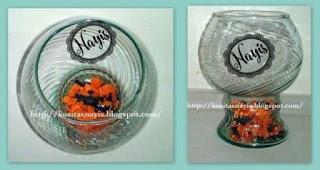 bol de vidrio con papel de seda