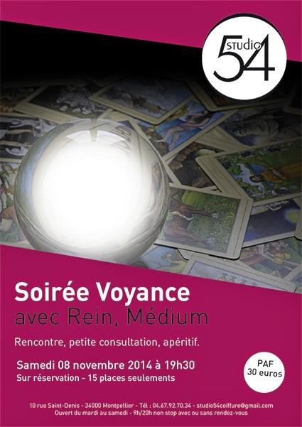 Affiche de notre soirée voyance à Montpellier,  au Studio 54, salon de coiffure, avec Rein, médium.
