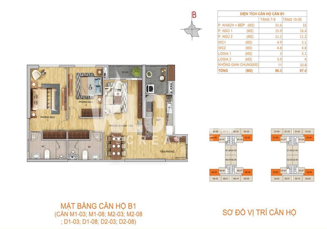 Mặt bằng căn hộ B1 - 87,4m2