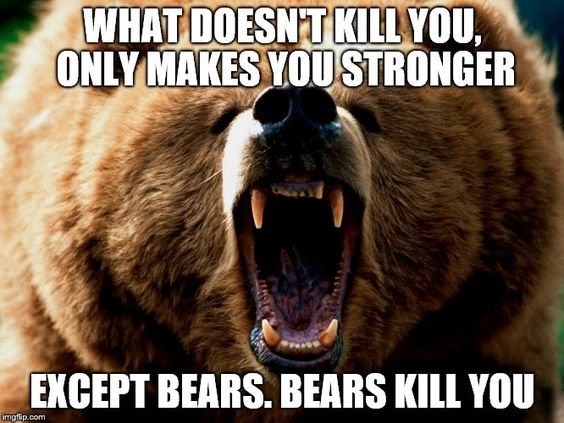 What doesn't kill you, only makes you stronger! ...except bears. bears kill you... #meme #funny #quote #relatable #bears