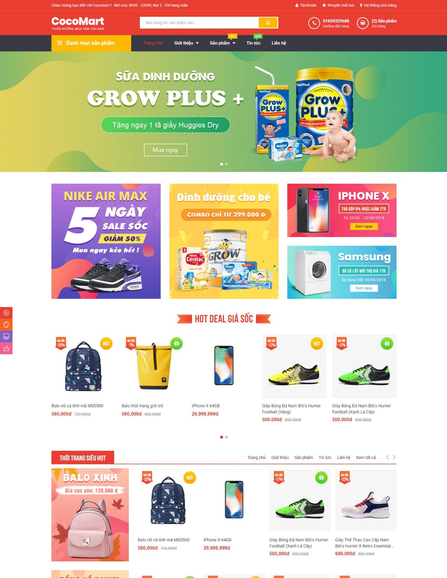 Giao diện blogspot bán hàng Cocomart Green chuẩn seo
