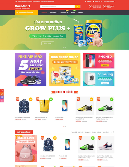 Template blogspot bán hàng Cocomart chuẩn SEO