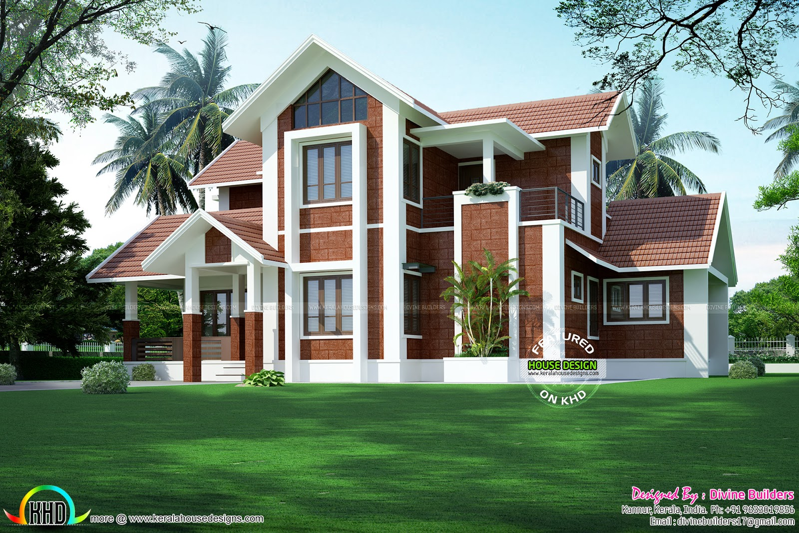 Sloping roof house by divine builders kerala home design for Devine home designs