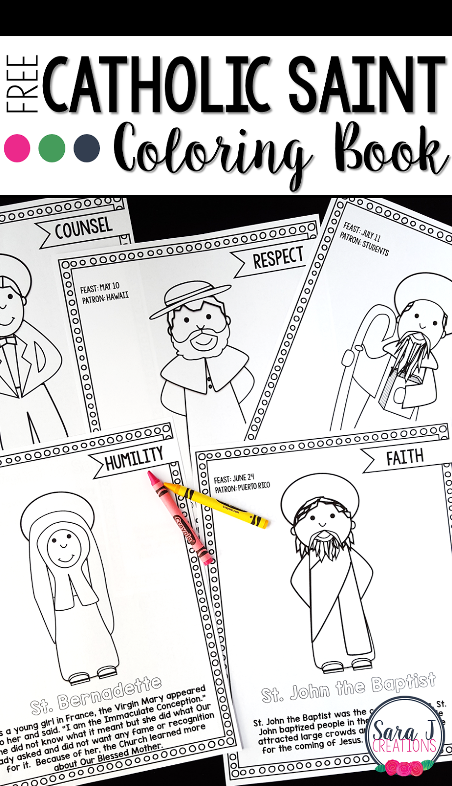 Catholic Saints Coloring Book - FREE sample.  Great way to teach the virtues through the lives of the Saints.