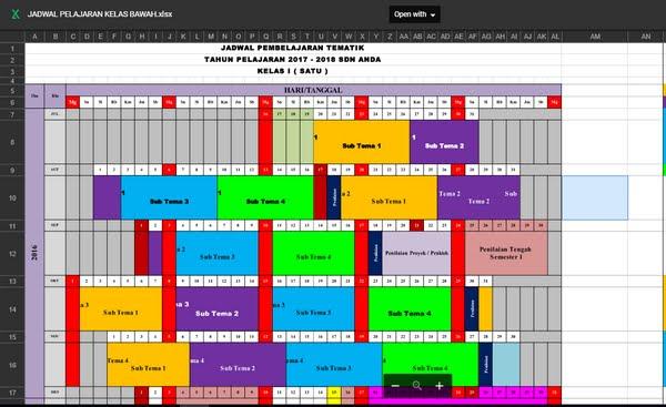 Download Jadwal Pelajaran SD Kurikulum 2013 Revisi 2017 Kelas Rendah