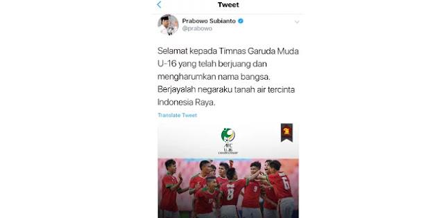 Prabowo: Timnas U16 Harumkan Nama Bangsa