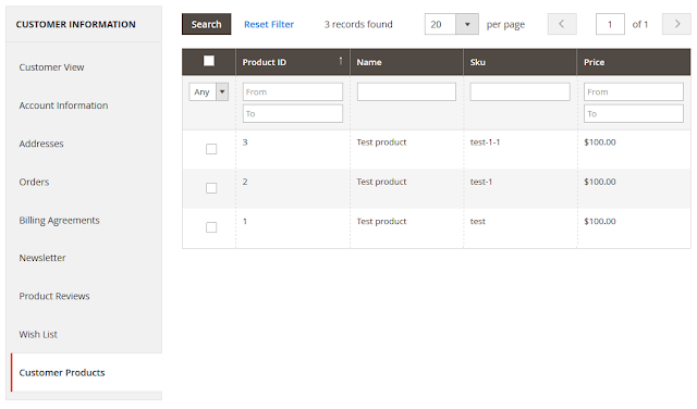 Product Grid In Customer Admin Section