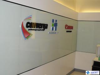 Acrylic Logo Signs Mounted on Glass - Converga