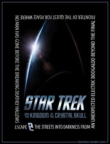 'Star Trek' poster of pointed Starfleet insignia shadowed in black with light glinting off its edges on viewers' left side, on top of which is text added by the blogger: 'Star Trek' logo followed by words wrapping all the way around the poster, reading in full 'Star Trek and the Kingdom of the Crystal Skull Escape 2 the Streets into Darkness from an Unexpected Electric Boogaloo beyond the Final Frontier of the Quest for Peace Where No Man Has Gone Before the Breaking Deathly Hallows