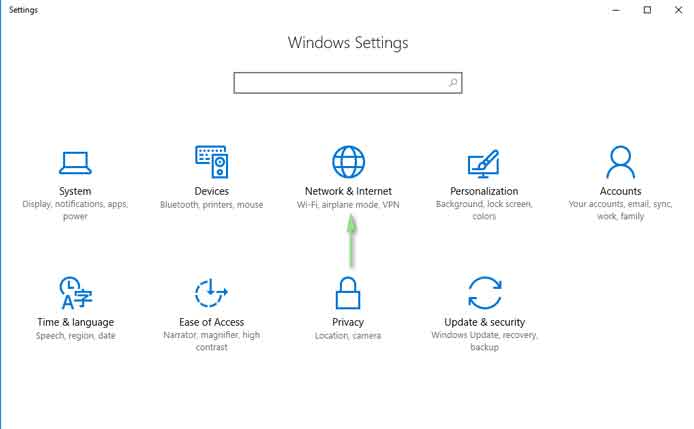 Network & Internet Setting Windows 10