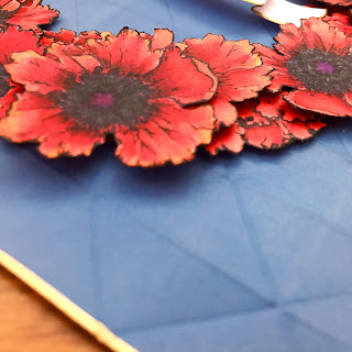 Side shot of card, showing flower depth.  Poppies for Memorial Day.