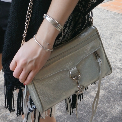 tassel poncho and Rebecca Minkoff metallic silver mini MAC | awayfromtheblue