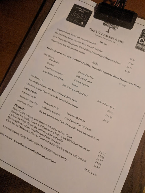 The Woodmans Arms Review | Sunday Lunch near Gibside  - sunday menu