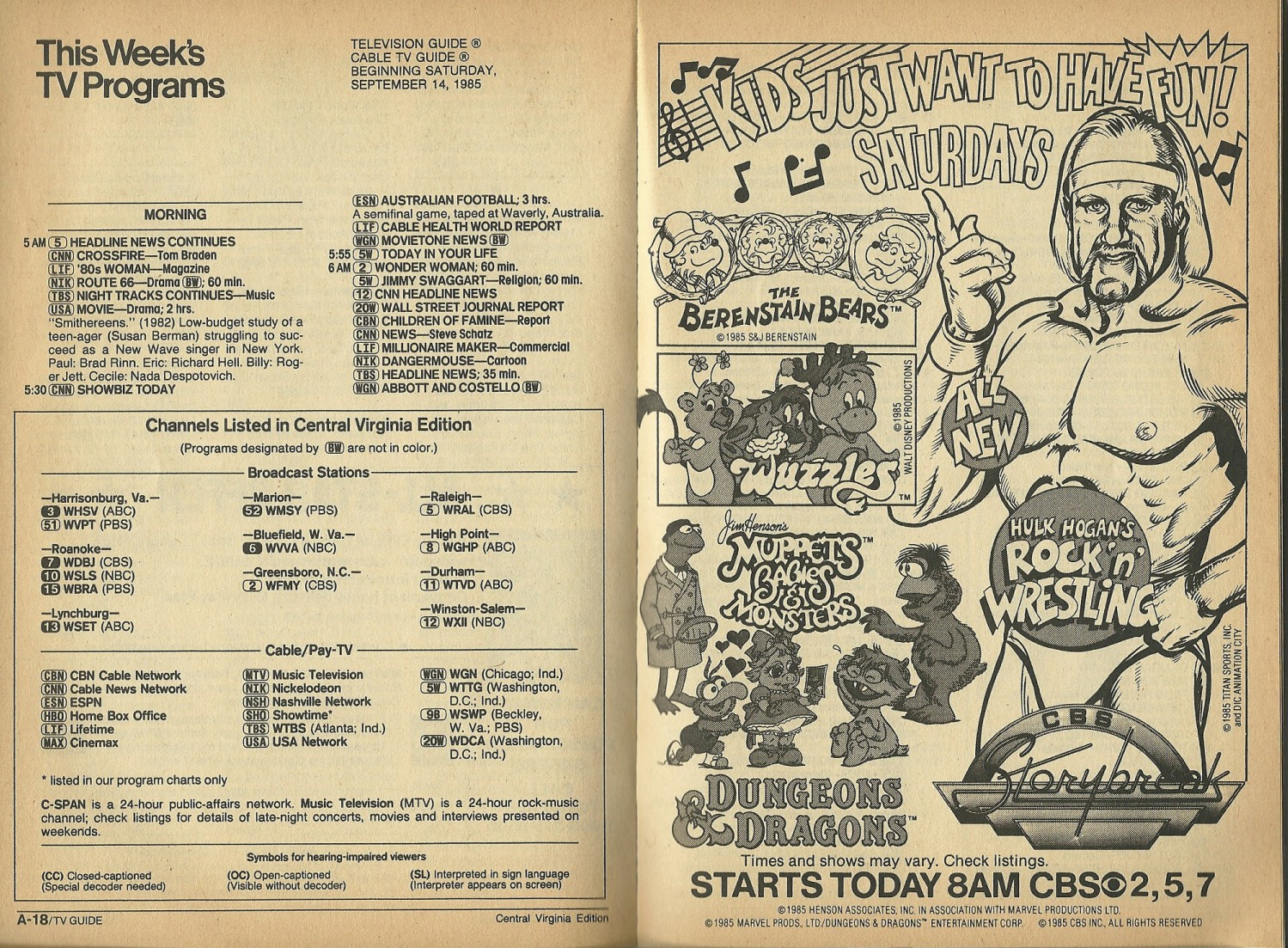 Bunched Undies: TV Guide Fall Preview - September 14, 1985