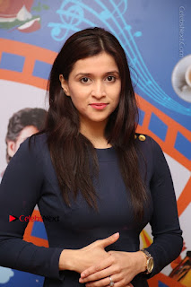 Actress Mannara Chopra Stills in Blue Short Dress at Rogue Song Launch at Radio City 91.1 FM  0014.jpg
