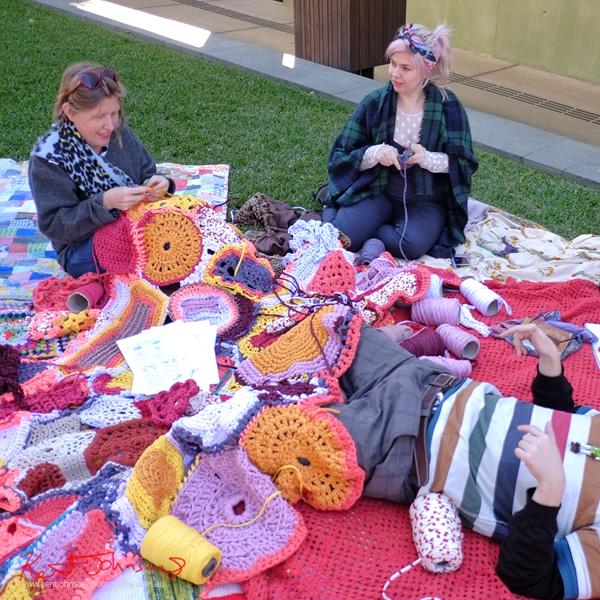 Knit Your Bit, outside the Queensland State Library, South Bank Brisbane. Photo by Kent Johnson.