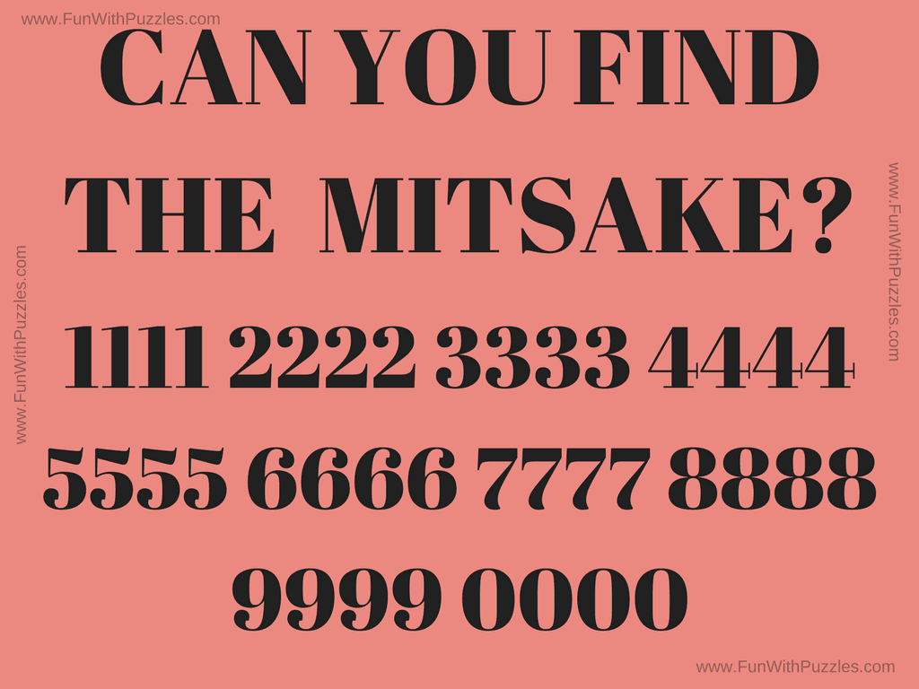 Picture Riddle of Finding Mistake with Answer-Fun With Puzzles