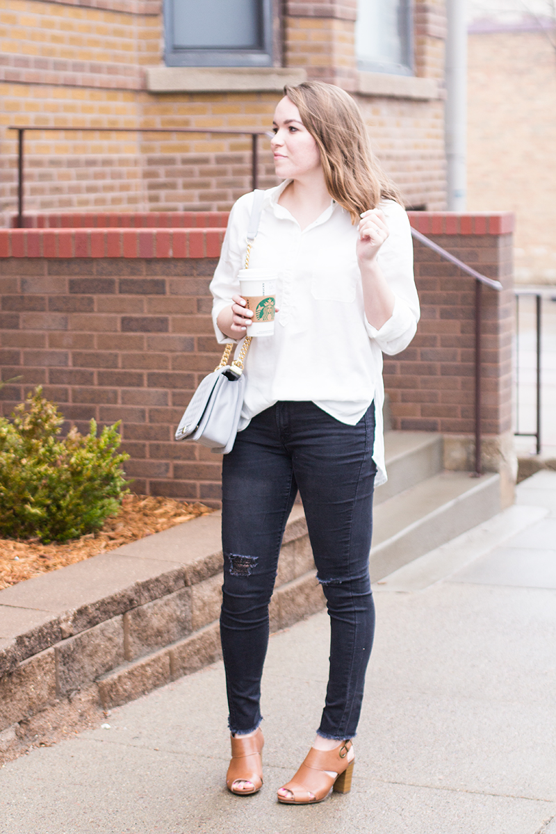 Skinny jeans with peep toe boots