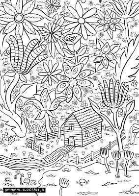A coloring page of a house in the middle of a paradise / Värityskuva talosta paratiisin keskellä