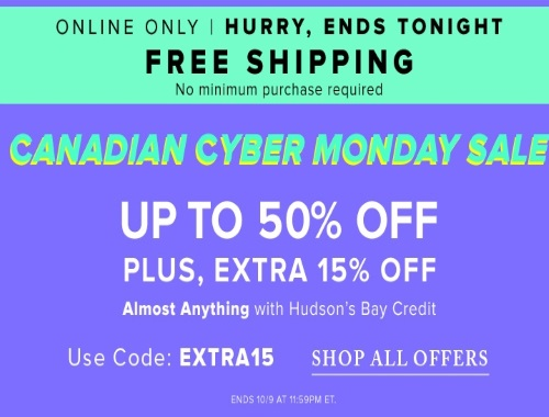 Hudson's Bay Canadian Cyber Monday Sale Up To 50% Off