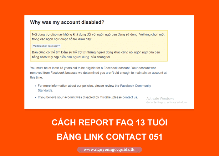 Hướng dẫn cách report facebook FAQ 13T bằng link contact 051