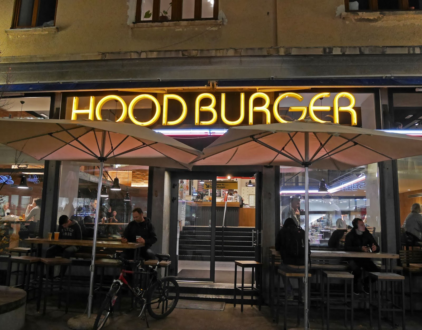 Exterior of Hood Burger in Ljubljana, Slovenia
