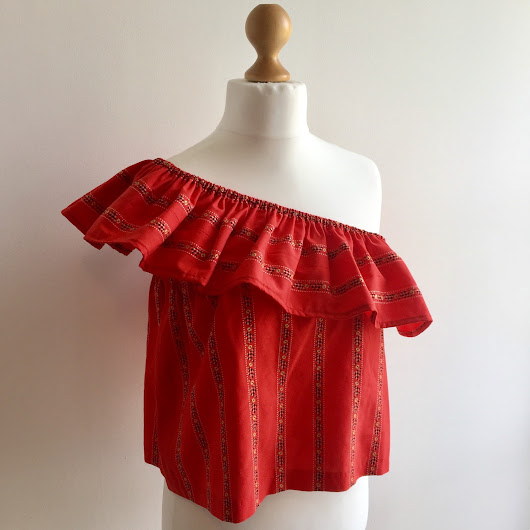 Easy DIY One-Shoulder Ruffled Top