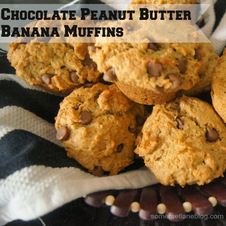 Somerset Lane: {RECIPE} - Chocolate Peanut Butter Banana Muffins
