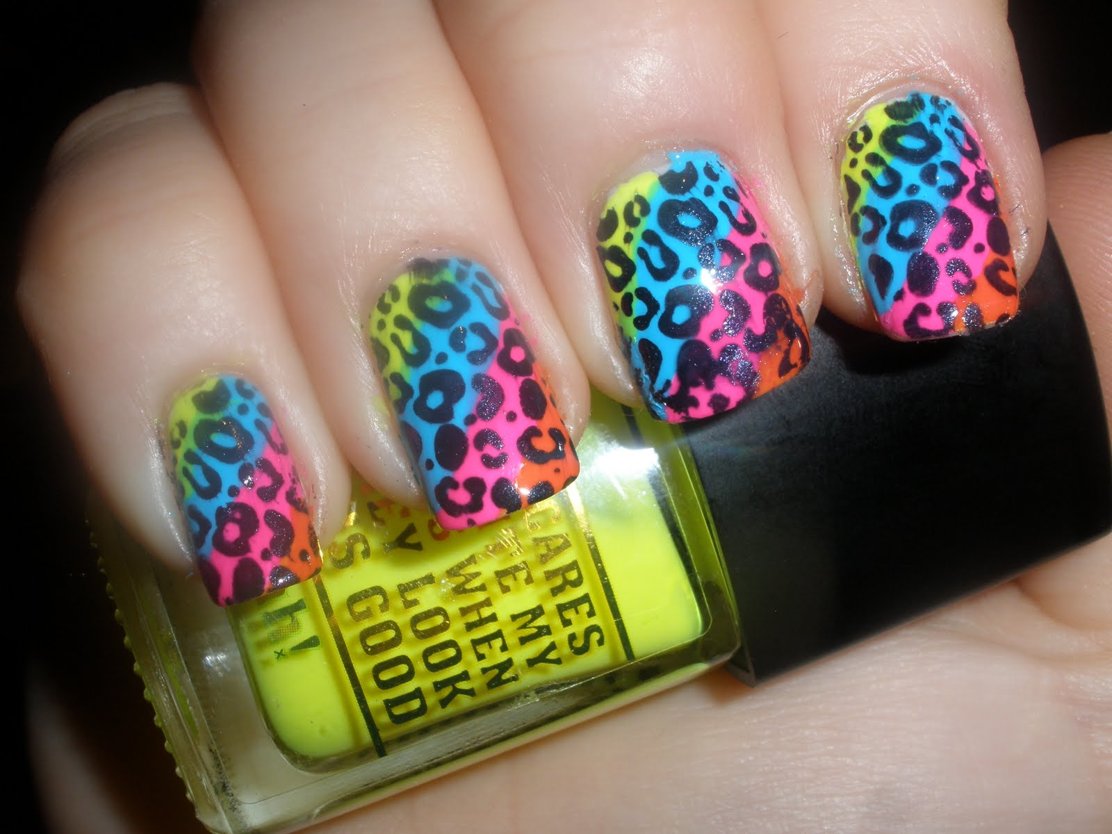 Neon Cheetah Nails Funky Trend