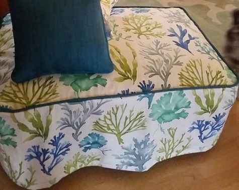 DIY Upholstered Coastal Ottoman