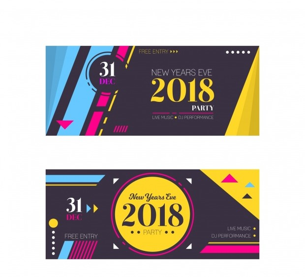 2018 New Year Banners Download Free Vector