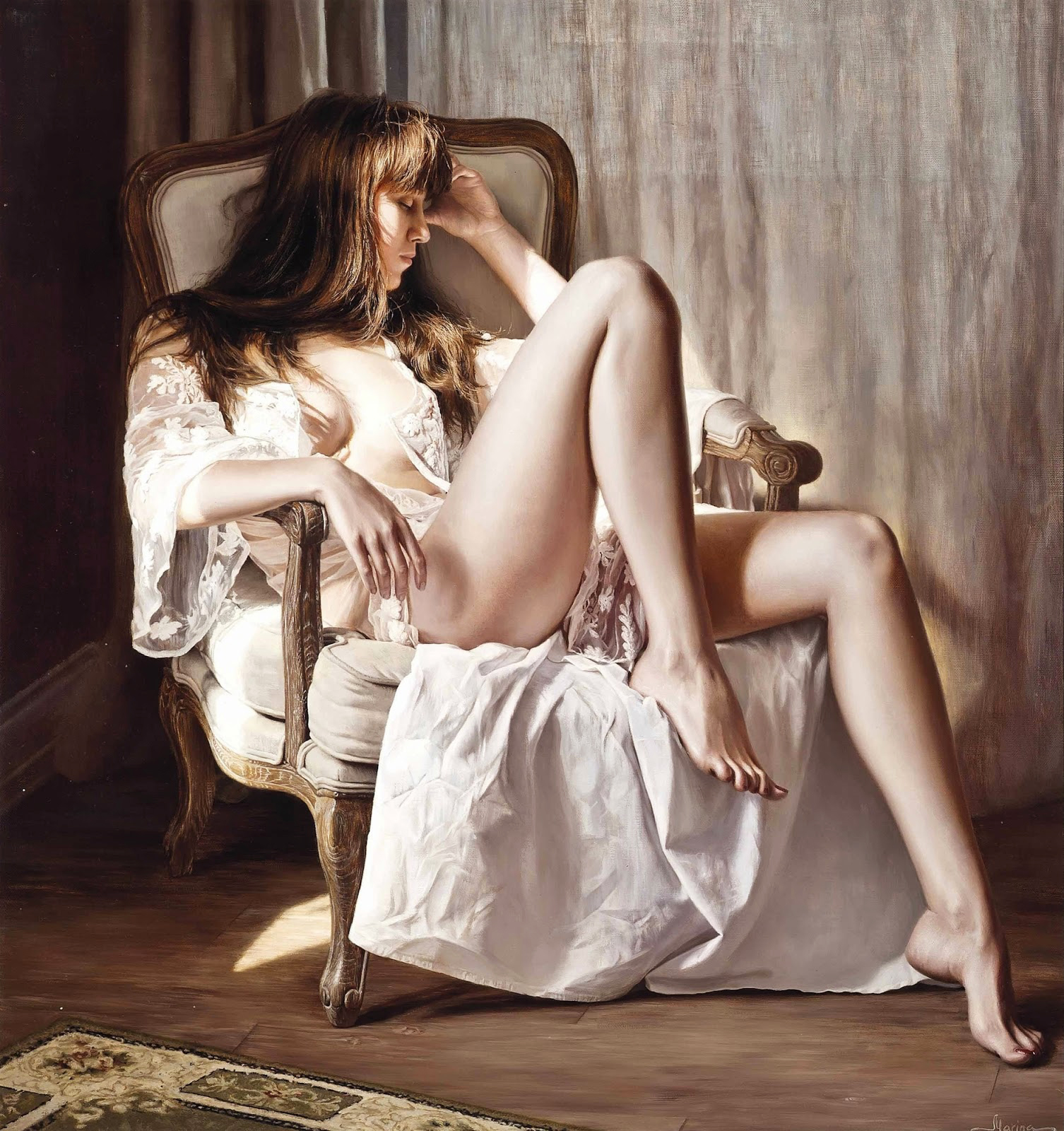 Hyperrealistic Oil Paintings by Marina Marina - Ready for Bed
