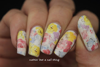 full nail water decal flower nail art design idea