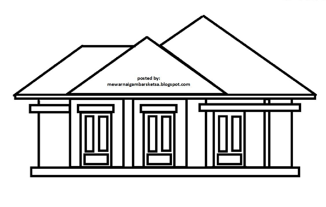 Mewarnai Gambar Mewarnai Gambar Sketsa Rumah 8