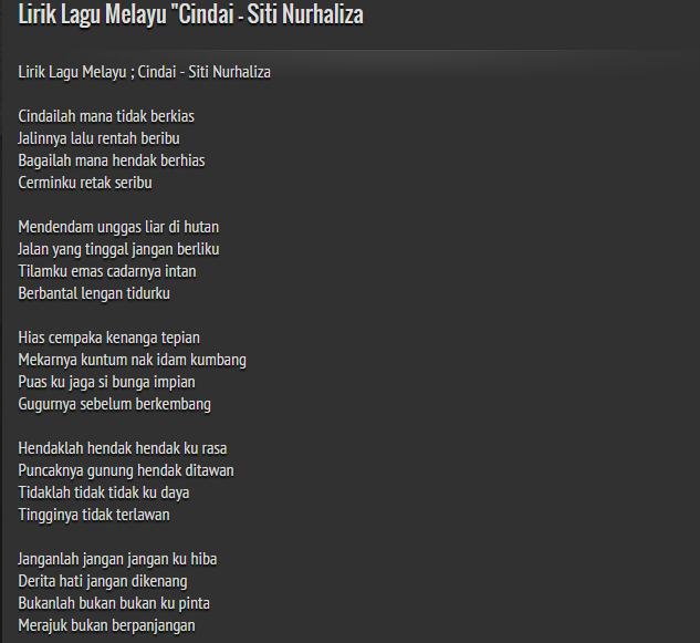"""Lirik Lagu Melayu """"Cindai"""
